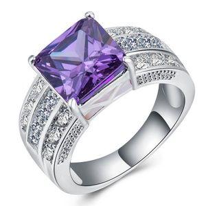 Luxury 925 Silver Ring Princess Cut Amethyst